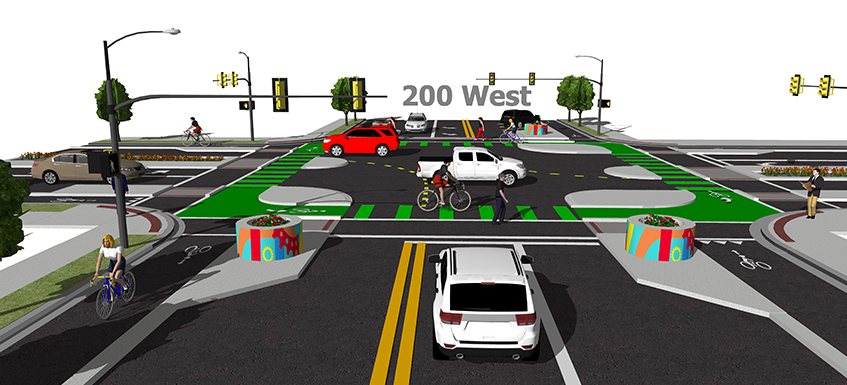 The 300 South and 200 West protected intersection in downtown Salt Lake.